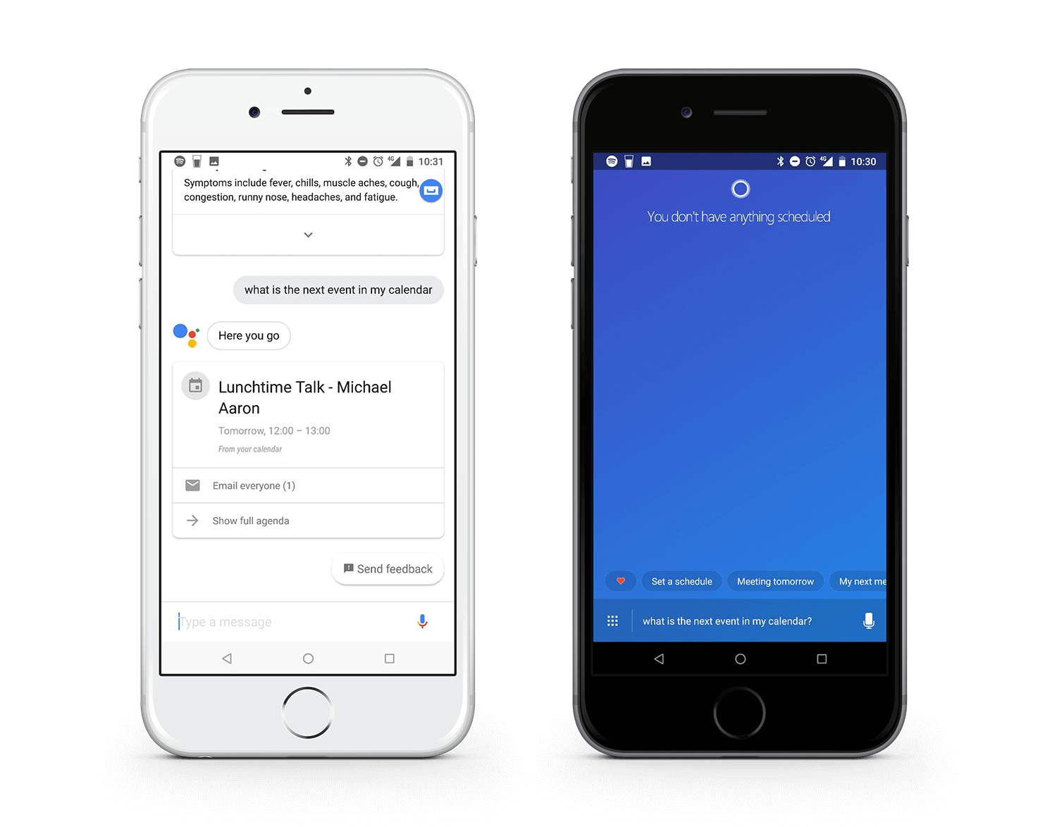 "Comparison of Google Assistant and Cortana search results to ""What is the next event in my calendar?"""