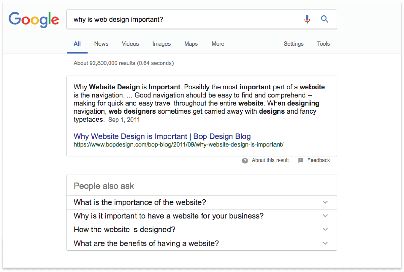 "screenshot - demonstration of Google's ""people also ask"" feature"