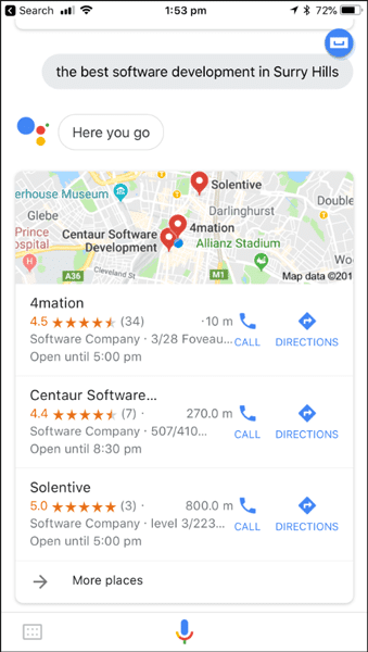 Screenshot of search results for best software agency Surry Hills