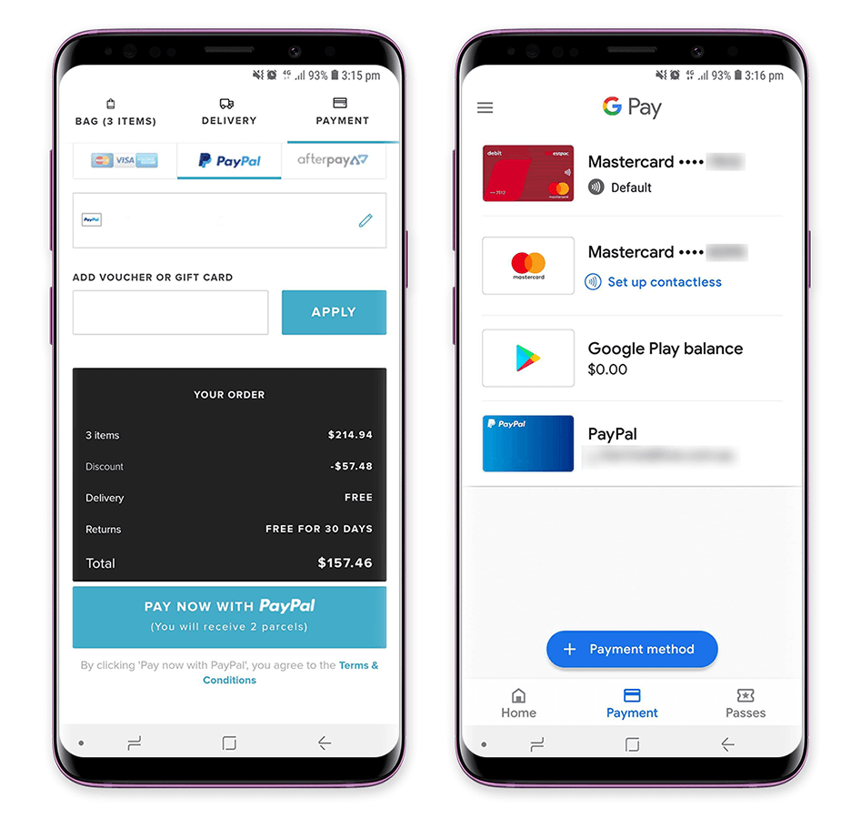 check out screen of paypal and google pay