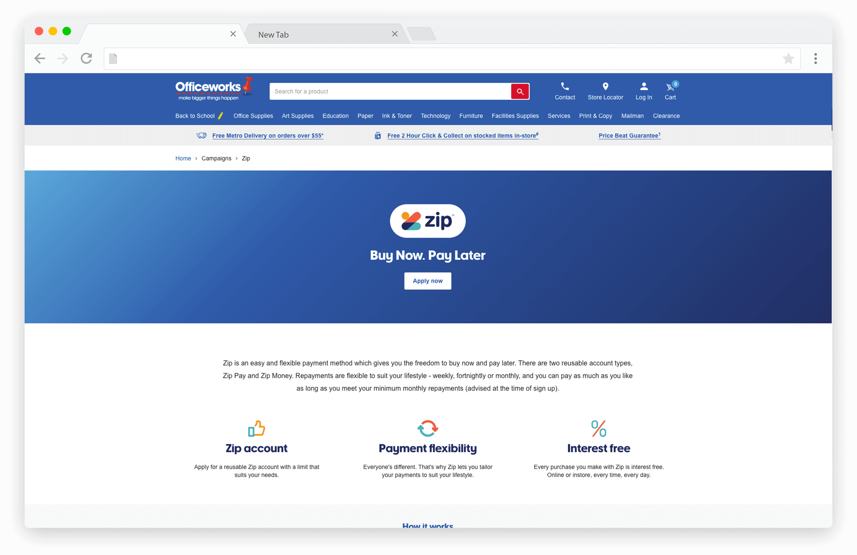 Screenshot of ZipPay information on Officeworks website