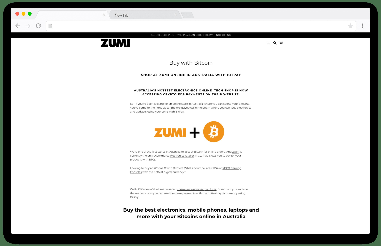 Screenshot of Zumi accepting bitcoin