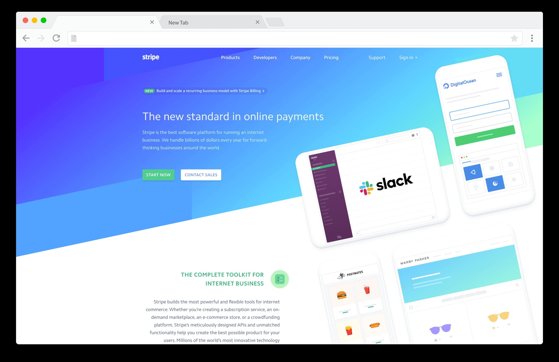 screenshot of stripe payment gateway